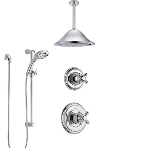 Delta Cassidy Chrome Finish Shower System with Control Handle, Diverter, Ceiling Mount Showerhead, and Temp2O Hand Shower with Slidebar SS149726