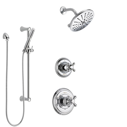Delta Cassidy Chrome Finish Shower System with Control Handle, 3-Setting Diverter, Showerhead, and Hand Shower with Slidebar SS149727