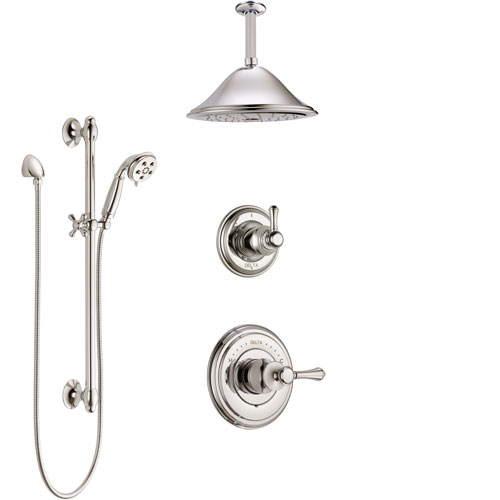 Delta Cassidy Polished Nickel Shower System with Control Handle, Diverter, Ceiling Mount Showerhead, and Hand Shower with Slidebar SS14972PN3