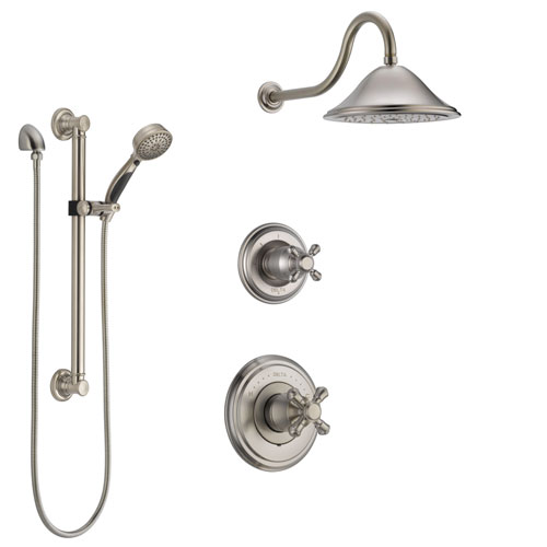Delta Cassidy Stainless Steel Finish Shower System with Control Handle, 3-Setting Diverter, Showerhead, and Hand Shower with Grab Bar SS14972SS1