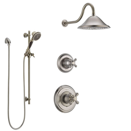 Delta Cassidy Stainless Steel Finish Shower System with Control Handle, 3-Setting Diverter, Showerhead, and Hand Shower with Slidebar SS14972SS2
