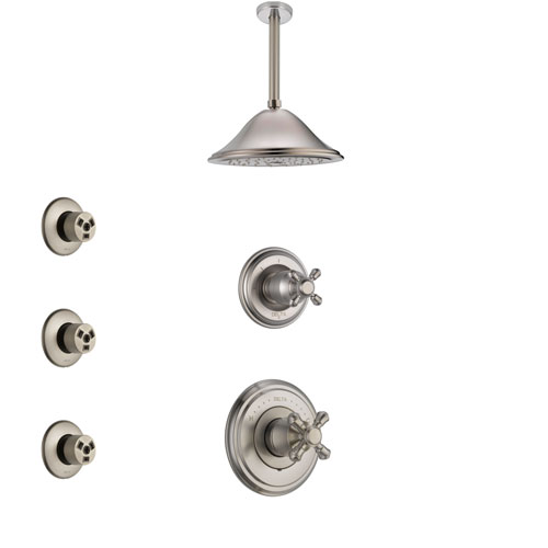 Delta Cassidy Stainless Steel Finish Shower System with Control Handle, 3-Setting Diverter, Ceiling Mount Showerhead, and 3 Body Sprays SS14972SS6