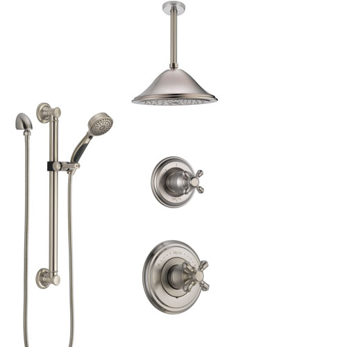 Delta Cassidy Stainless Steel Finish Shower System with Control Handle, Diverter, Ceiling Mount Showerhead, and Hand Shower with Grab Bar SS14972SS7