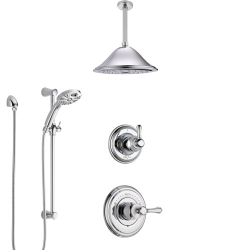 Delta Cassidy Chrome Finish Shower System with Control Handle, Diverter, Ceiling Mount Showerhead, and Temp2O Hand Shower with Slidebar SS149736