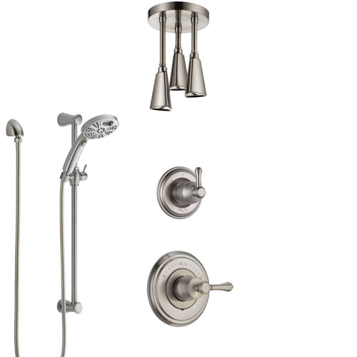 Delta Cassidy Stainless Steel Finish Shower System with Control, Diverter, Ceiling Mount Showerhead, and Temp2O Hand Shower with Slidebar SS14973SS7