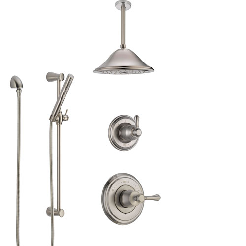 Delta Cassidy Stainless Steel Finish Shower System with Control Handle, Diverter, Ceiling Mount Showerhead, and Hand Shower with Slidebar SS14973SS8