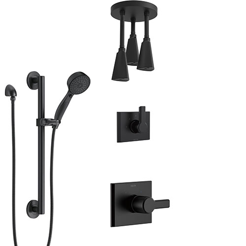 Delta Pivotal Matte Black Finish Modern Shower System with Triple Pendant Ceiling Mount Showerhead Fixture and Grab Bar Hand Sprayer Kit SS14993BL10