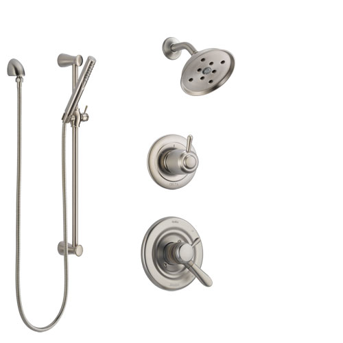 Delta Lahara Stainless Steel Finish Shower System with Dual Control Handle, 3-Setting Diverter, Showerhead, and Hand Shower with Slidebar SS17238SS4