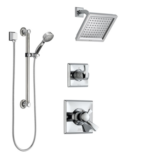 Delta Dryden Chrome Finish Shower System with Dual Control Handle, 3-Setting Diverter, Showerhead, and Hand Shower with Grab Bar SS1725114