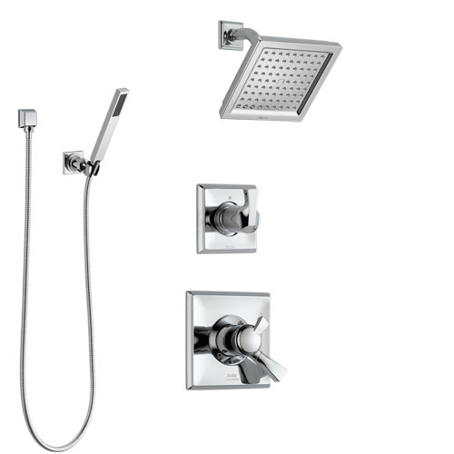 Delta Dryden Chrome Finish Shower System with Dual Control Handle, 3-Setting Diverter, Showerhead, and Hand Shower with Wall Bracket SS1725115