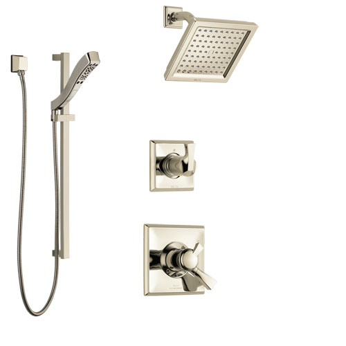 Delta Dryden Polished Nickel Finish Shower System with Dual Control Handle, 3-Setting Diverter, Showerhead, and Hand Shower with Slidebar SS172511PN3