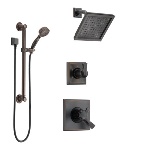 Delta Dryden Venetian Bronze Finish Shower System with Dual Control Handle, 3-Setting Diverter, Showerhead, and Hand Shower with Grab Bar SS172511RB3
