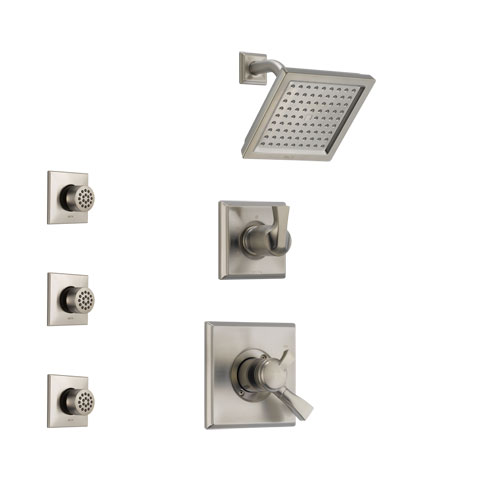 Delta Dryden Stainless Steel Finish Shower System with Dual Control Handle, 3-Setting Diverter, Showerhead, and 3 Body Sprays SS172511SS2