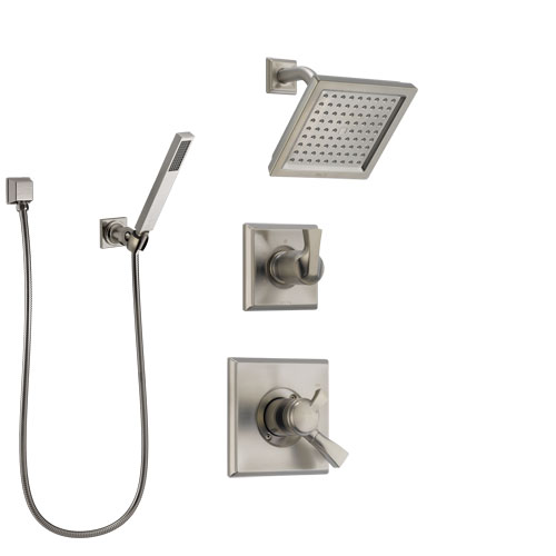 Delta Dryden Stainless Steel Finish Shower System with Dual Control Handle, Diverter, Showerhead, and Hand Shower with Wall Bracket SS172511SS4