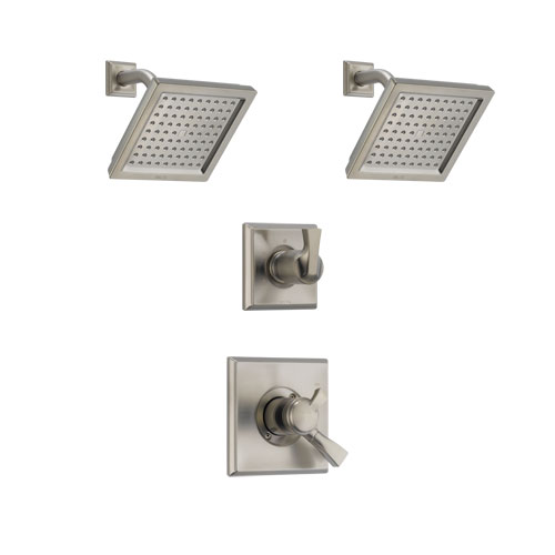 Delta Dryden Stainless Steel Finish Shower System with Dual Control Handle, 3-Setting Diverter, 2 Showerheads SS172511SS5