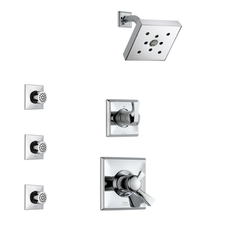 Delta Dryden Chrome Finish Shower System with Dual Control Handle, 3-Setting Diverter, Showerhead, and 3 Body Sprays SS1725121