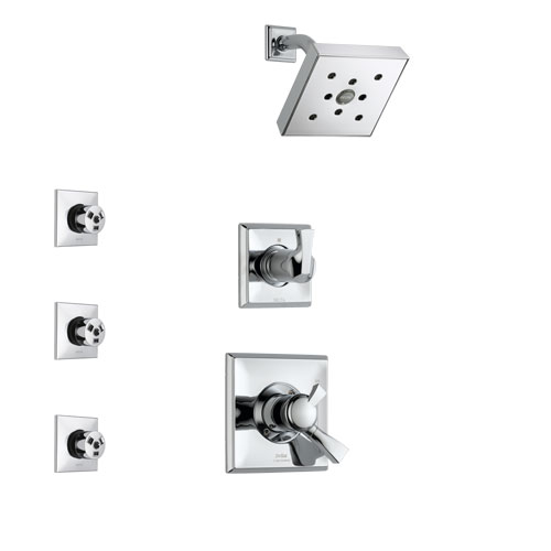 Delta Dryden Chrome Finish Shower System with Dual Control Handle, 3-Setting Diverter, Showerhead, and 3 Body Sprays SS1725122