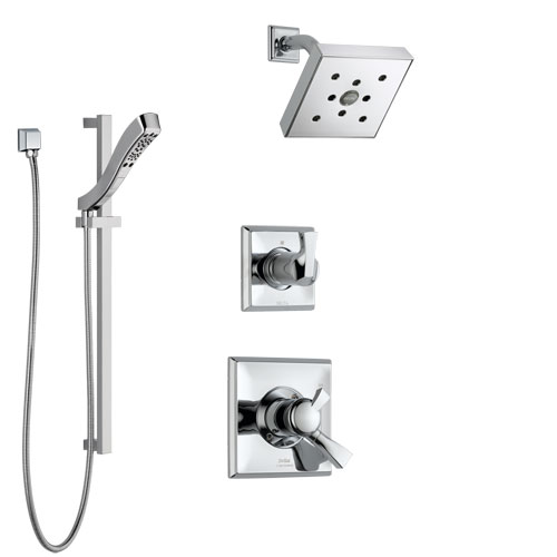 Delta Dryden Chrome Finish Shower System with Dual Control Handle, 3-Setting Diverter, Showerhead, and Hand Shower with Slidebar SS1725126