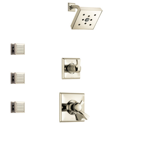 Delta Dryden Polished Nickel Finish Shower System with Dual Control Handle, 3-Setting Diverter, Showerhead, and 3 Body Sprays SS172512PN1