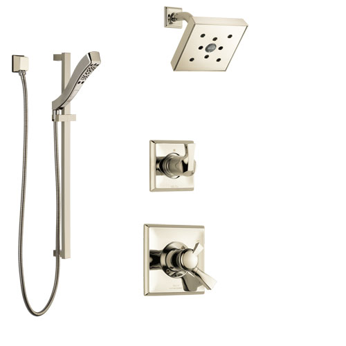 Delta Dryden Polished Nickel Finish Shower System with Dual Control Handle, 3-Setting Diverter, Showerhead, and Hand Shower with Slidebar SS172512PN3