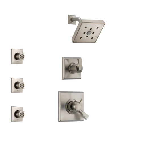 Delta Dryden Stainless Steel Finish Shower System with Dual Control Handle, 3-Setting Diverter, Showerhead, and 3 Body Sprays SS172512SS2