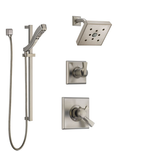 Delta Dryden Stainless Steel Finish Shower System with Dual Control Handle, 3-Setting Diverter, Showerhead, and Hand Shower with Slidebar SS172512SS5