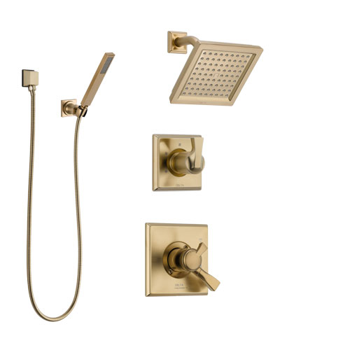 Delta Dryden Champagne Bronze Shower System with Dual Control Handle, 3-Setting Diverter, Showerhead, and Hand Shower with Wall Bracket SS17251CZ3