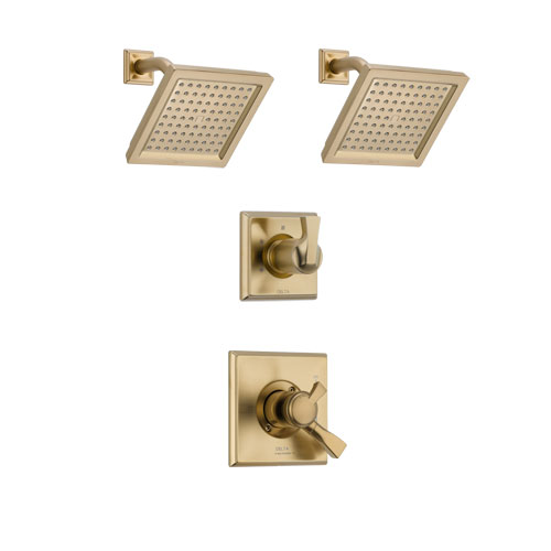 Delta Dryden Champagne Bronze Finish Shower System with Dual Control Handle, 3-Setting Diverter, 2 Showerheads SS17251CZ4