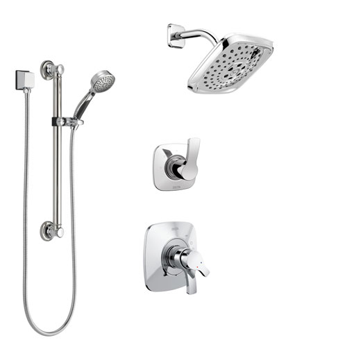 Delta Tesla Chrome Finish Shower System with Dual Control Handle, 3-Setting Diverter, Showerhead, and Hand Shower with Grab Bar SS172523