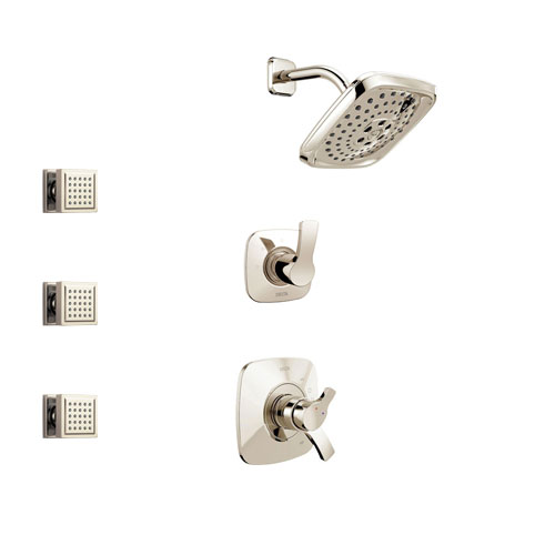 Delta Tesla Polished Nickel Finish Shower System with Dual Control Handle, 3-Setting Diverter, Showerhead, and 3 Body Sprays SS17252PN1