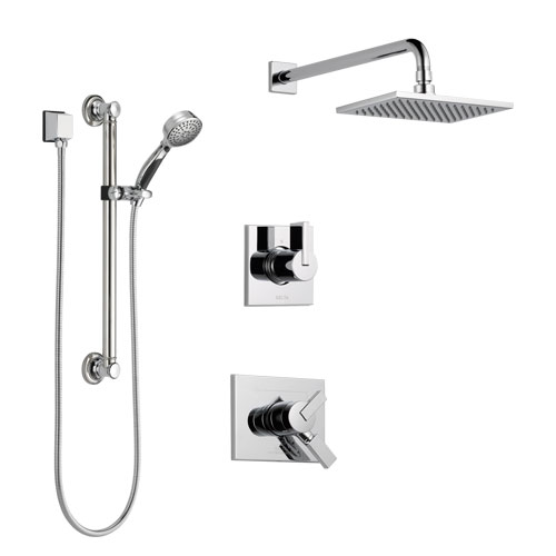Delta Vero Chrome Finish Shower System with Dual Control Handle, 3-Setting Diverter, Showerhead, and Hand Shower with Grab Bar SS1725313