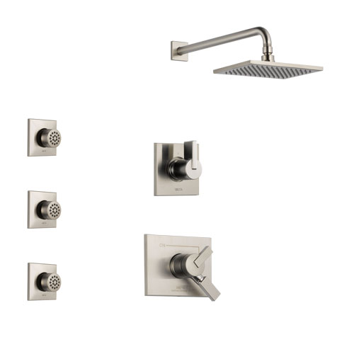 Delta Vero Stainless Steel Finish Shower System with Dual Control Handle, 3-Setting Diverter, Showerhead, and 3 Body Sprays SS172531SS2