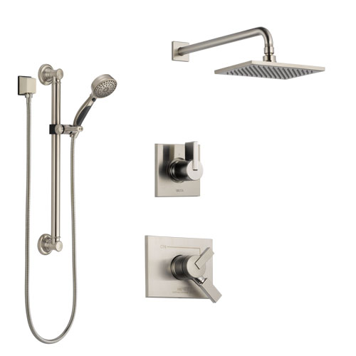 Delta Vero Stainless Steel Finish Shower System with Dual Control Handle, 3-Setting Diverter, Showerhead, and Hand Shower with Grab Bar SS172531SS3
