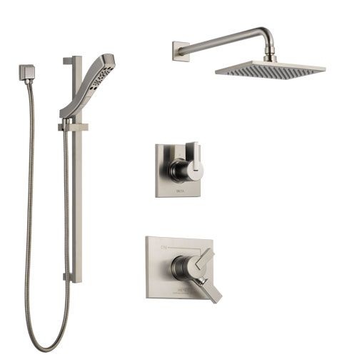 Delta Vero Stainless Steel Finish Shower System with Dual Control Handle, 3-Setting Diverter, Showerhead, and Hand Shower with Slidebar SS172531SS6