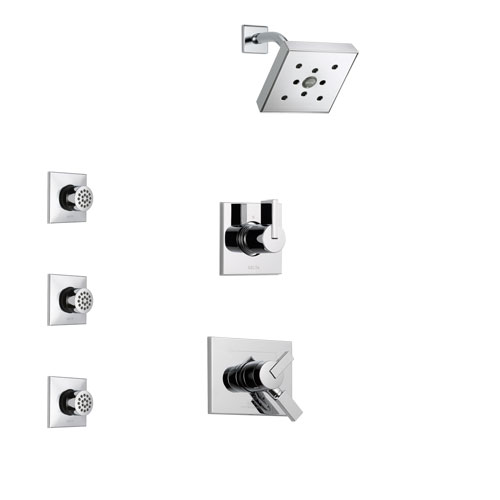 Delta Vero Chrome Finish Shower System with Dual Control Handle, 3-Setting Diverter, Showerhead, and 3 Body Sprays SS1725321