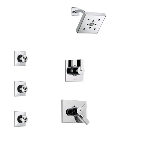 Delta Vero Chrome Finish Shower System with Dual Control Handle, 3-Setting Diverter, Showerhead, and 3 Body Sprays SS1725322