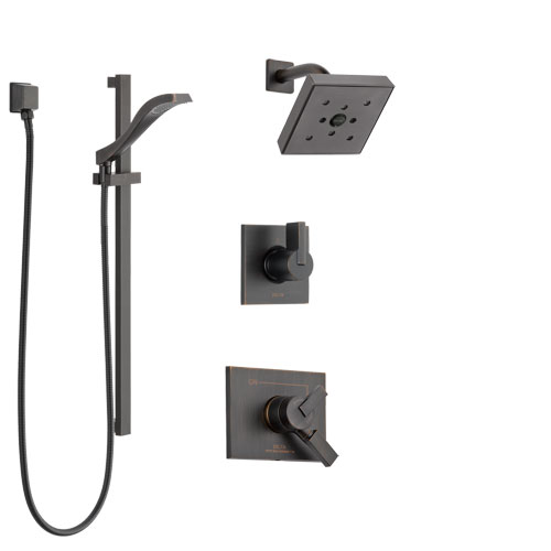 Delta Vero Venetian Bronze Finish Shower System with Dual Control Handle, 3-Setting Diverter, Showerhead, and Hand Shower with Slidebar SS172532RB4