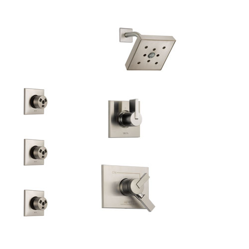 Delta Vero Stainless Steel Finish Shower System with Dual Control Handle, 3-Setting Diverter, Showerhead, and 3 Body Sprays SS172532SS2
