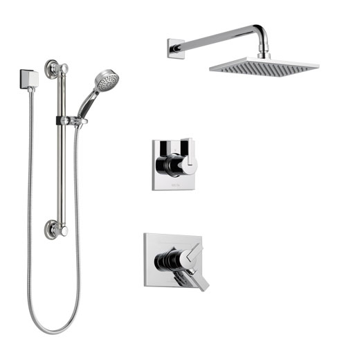 Delta Vero Chrome Finish Shower System with Dual Control Handle, 3-Setting Diverter, Showerhead, and Hand Shower with Grab Bar SS1725333