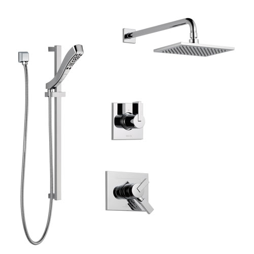Delta Vero Chrome Finish Shower System with Dual Control Handle, 3-Setting Diverter, Showerhead, and Hand Shower with Slidebar SS1725334