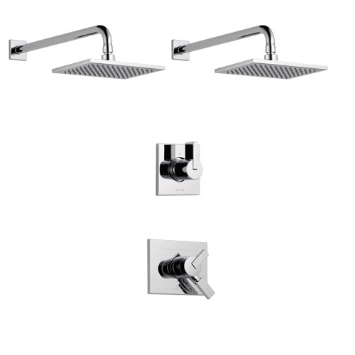 Delta Vero Chrome Finish Shower System with Dual Control Handle, 3-Setting Diverter, 2 Showerheads SS1725335