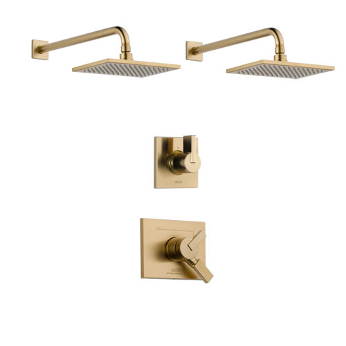 Delta Vero Champagne Bronze Finish Shower System with Dual Control Handle, 3-Setting Diverter, 2 Showerheads SS17253CZ4