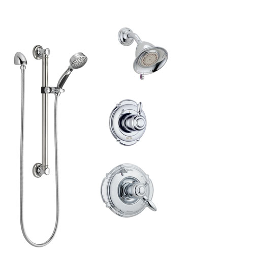 Delta Victorian Chrome Finish Shower System with Dual Control Handle, 3-Setting Diverter, Showerhead, and Hand Shower with Grab Bar SS1725513