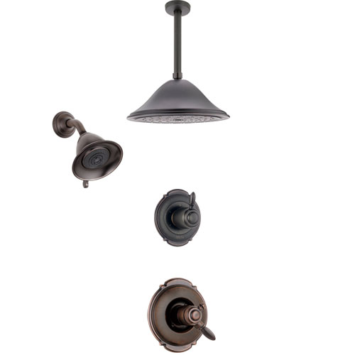 Delta Victorian Venetian Bronze Shower System with Dual Control Handle, 3-Setting Diverter, Showerhead, and Ceiling Mount Showerhead SS172551RB6