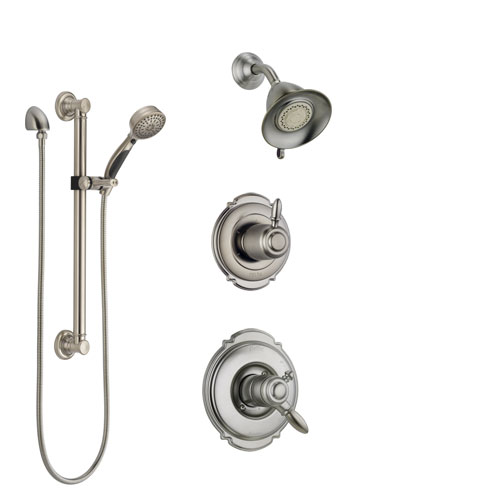 Delta Victorian Stainless Steel Finish Shower System with Dual Control Handle, Diverter, Showerhead, and Hand Shower with Grab Bar SS172551SS3