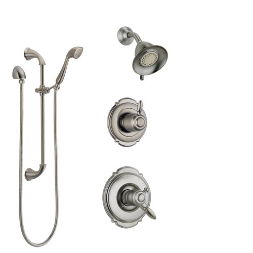 Delta Victorian Stainless Steel Finish Shower System with Dual Control Handle, Diverter, Showerhead, and Hand Shower with Slidebar SS172551SS4