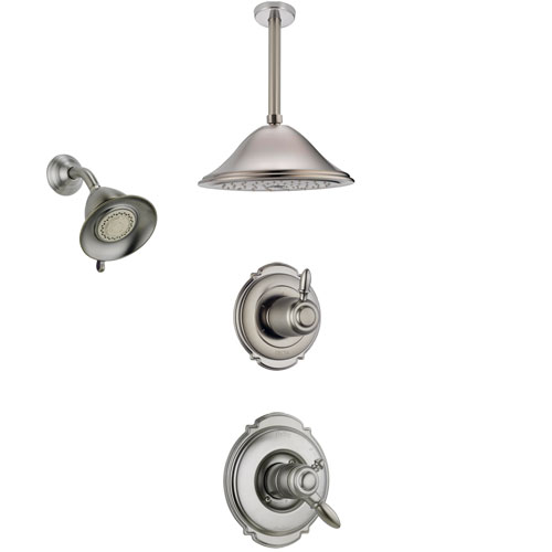 Delta Victorian Stainless Steel Finish Shower System with Dual Control Handle, Diverter, Showerhead, and Ceiling Mount Showerhead SS172551SS5