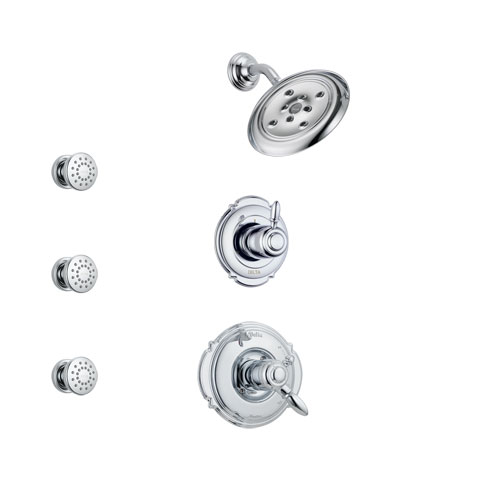 Delta Victorian Chrome Finish Shower System with Dual Control Handle, 3-Setting Diverter, Showerhead, and 3 Body Sprays SS1725521