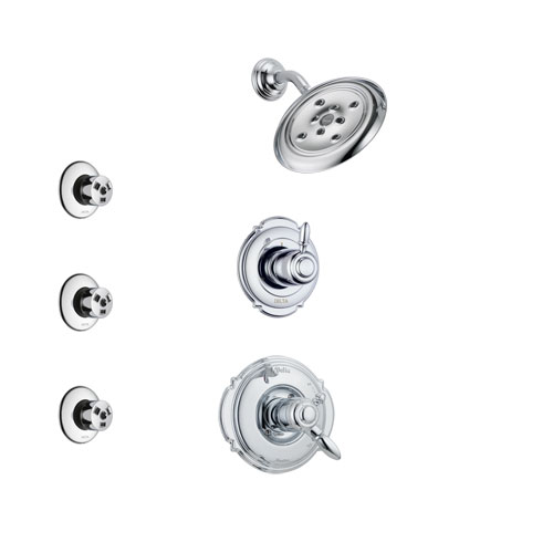 Delta Victorian Chrome Finish Shower System with Dual Control Handle, 3-Setting Diverter, Showerhead, and 3 Body Sprays SS1725522