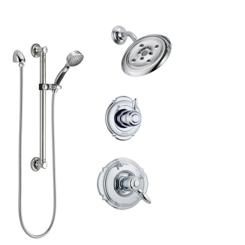 Delta Victorian Chrome Finish Shower System with Dual Control Handle, 3-Setting Diverter, Showerhead, and Hand Shower with Grab Bar SS1725523